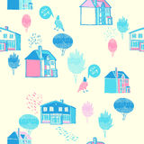 Vector background with old town. Seamless pattern. Hand drawn illustration, Doodle style. Cute trees and houses. Color ornamental texture with country Royalty Free Stock Images