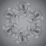 Vector background with ornament of the grayscale graphic flowers Royalty Free Stock Photography