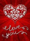 Vector background with ornate heart. Royalty Free Stock Images