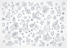 Vector background with outlines of Christmas objects. Royalty Free Stock Image