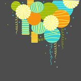Vector background with paper Pom Poms, lanterns Stock Photos