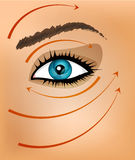 Vector background with part of the face and massage lines Stock Photos
