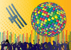 Vector background with people and dancing ball vector illustration