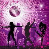 Vector background with people dancing in nightclub vector illustration