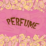 Vector background of perfume bottles. Vector of perfume yellow bottles, pink background Royalty Free Stock Photo