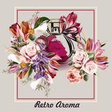 Vector background with perfume drawn in watercolor style  Stock Photos