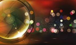 Vector background with photo lens and bokeh. The  vector background with photo lens and bokeh Royalty Free Stock Photography
