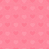 Vector background of pink fishnet hearts. Royalty Free Stock Image