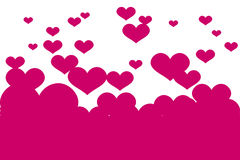 Vector background with pink hearts. Stock Photography