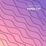 Vector background with pink and lila gradient color paper cut stock illustration