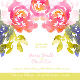 Vector background with pink watercolor bouquet Royalty Free Stock Photo