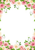 Vector background with pink and white roses. vector illustration