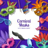 Vector background with masks and party accessories. Vector background with place for text with masks and party accessories Stock Photography