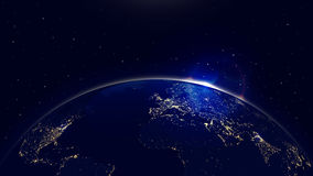 Vector background planet earth with sunrise in space and city lights. Earth sphere communications Stock Image