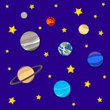 Vector Background with Planets and Stars, Cosmic Backdrop, Paper Art. stock illustration