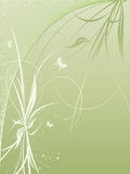 Vector background with plants and butterflies Royalty Free Stock Photography
