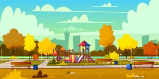 Vector background of playground in park, autumn vector illustration