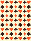 Vector background with playing cards symbols. Endless texture can be used for casino design, web page background, surface and textile textures Stock Photos