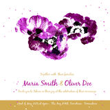 Vector background with purple watercolor poppies Royalty Free Stock Photography