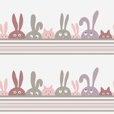 Vector background with rabbits and kittens Stock Photography
