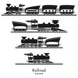 Vector background railroad, trains set Royalty Free Stock Images