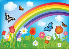 Vector background with rainbow Royalty Free Stock Photos