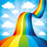 Vector background. Rainbow. Vector summer background. Rainbow on the sky royalty free illustration