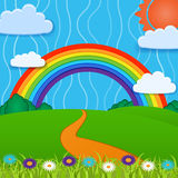 Vector background with rainbow. Stock Photos