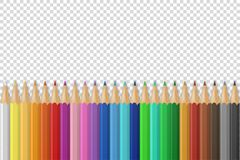 Vector background with realistic 3D wooden colorful colored pencils or crayons on transparency grid background with. Space for message or text. Design template vector illustration