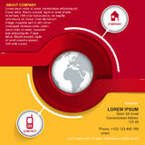Vector background with red circle, globe and icons Stock Photography