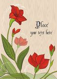 Vector background with red flowers Stock Images
