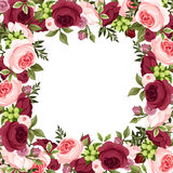 Vector background with red and pink roses. Stock Photo