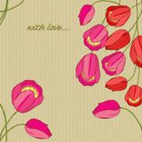 Vector background with red and pink tulips Stock Images