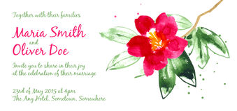 Vector background with red watercolor camellias Stock Image