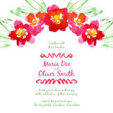 Vector background with red watercolor camellias Royalty Free Stock Image