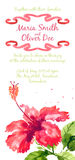 Vector background with red watercolor hibiscus Stock Photos