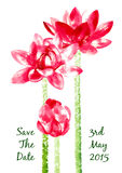 Vector background with red watercolor lotus Stock Photo