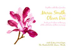 Vector background with red watercolor magnolia Royalty Free Stock Photo