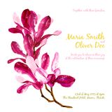 Vector background with red watercolor magnolia Royalty Free Stock Photos