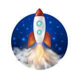 Vector background with retro space rocket ship launch, Template for project start up and development process, creative Stock Photography
