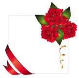 Vector  background with ribbon and red roses Stock Photo