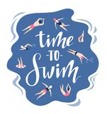 Vector background in scandinavian style swimmers in and lettering - Time to travel. Hand drawn print. Vector background in scandinavian style swimmers in and Stock Photos