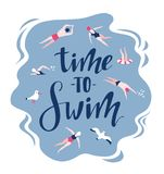 Vector background in scandinavian style swimmers, seagulls and lettering - Time to travel. Hand drawn print for t-shirt Stock Photography