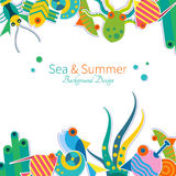 Vector background with sea animals Stock Image