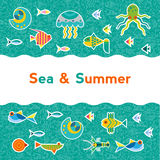 Vector background with sea creatures Stock Photos