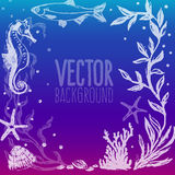 Vector background with sea life scene Royalty Free Stock Image