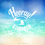 Vector background. Sea with reflections and blurred lights. Beautiful inscription Hooray Summer Royalty Free Stock Photos
