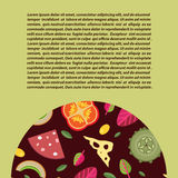 Vector background with a semi-circular Strike the wells stuffed pizza. Light olive background Stock Images