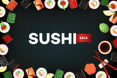 Vector Background With Set Of Different Sushi Rolls And Sauce. Promotional Template. Food Design Collection Stock Image