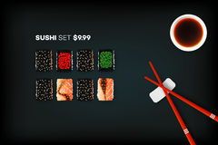 Vector Background With Set Of Different Sushi Rolls And Sauce. Promotional Template. Food Design Collection Stock Photography